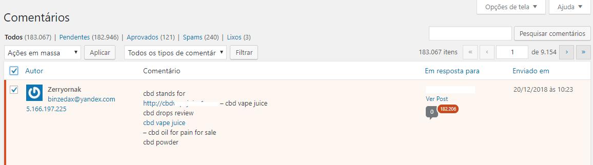 excluir comentários em massa no WordPress