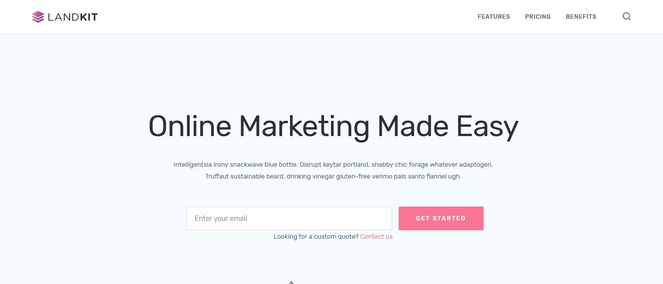 LandKit, uma das melhores landing pages para WordPress