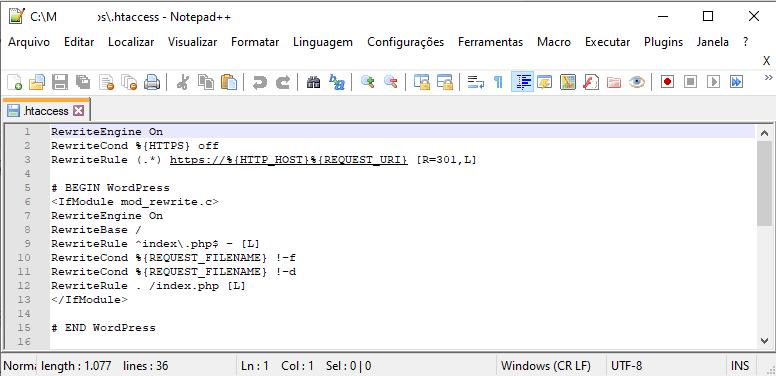 Visão geral de um arquivo .htaccess
