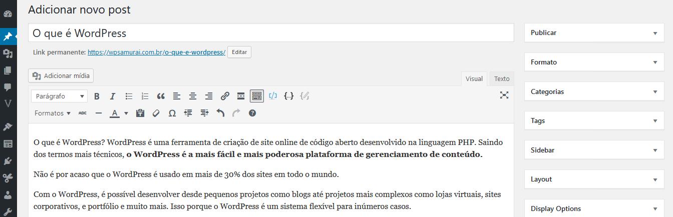 Edição de um artigo utilizando o WordPress