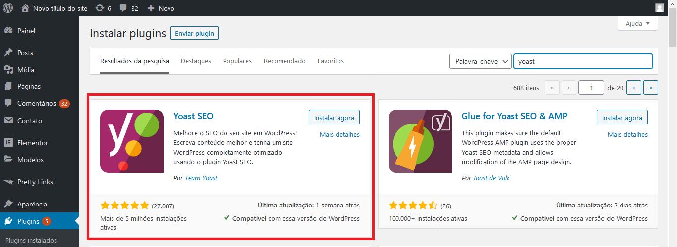 Passo inicial para instalação do sitemap.xml no WordPress. Instalação do Plugin Yoast SEO.