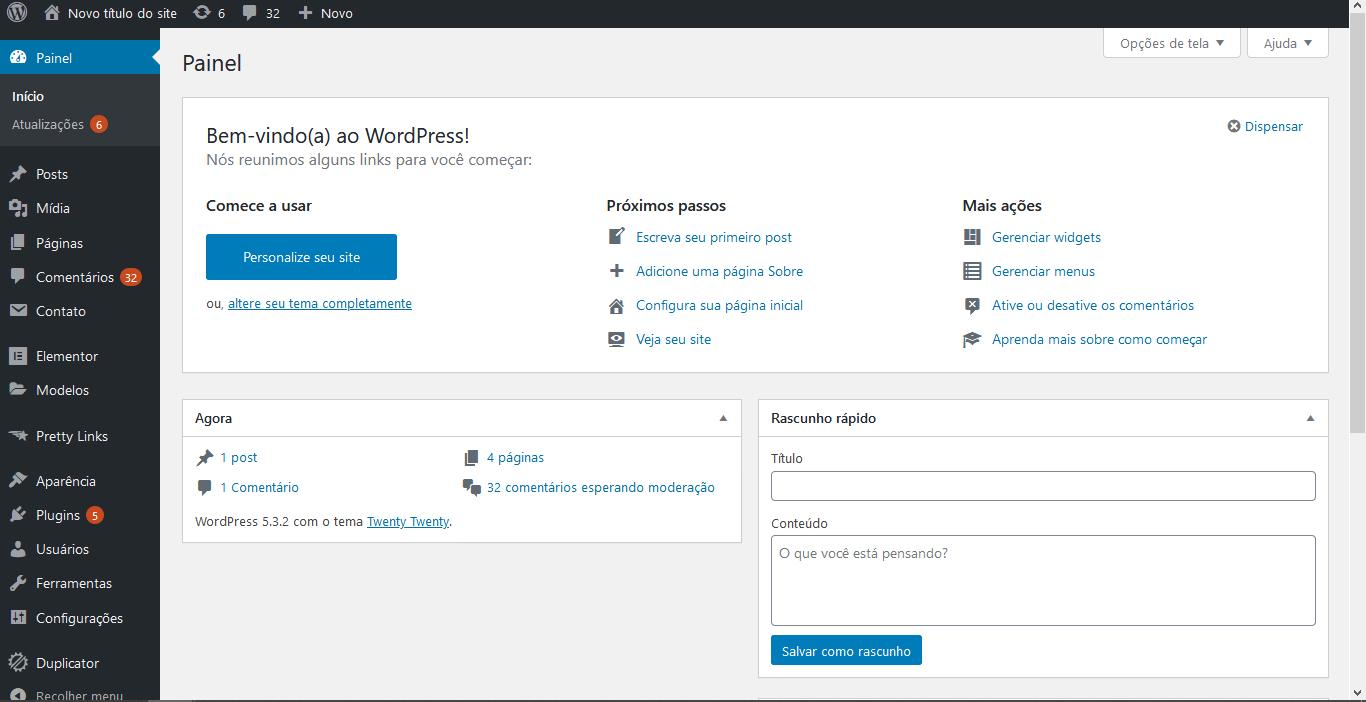 Painel de administração do WordPress