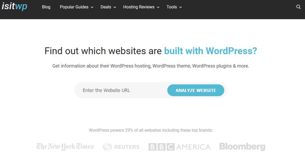 Página inicial do site IsItWp para descobrir o tema do WordPress