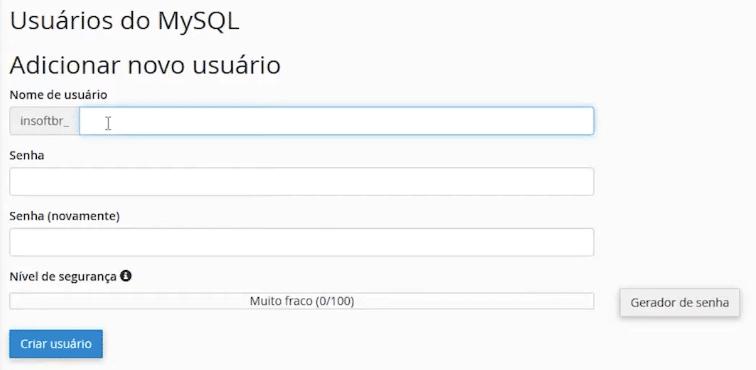 Imagem do formulário para criar usuário de banco de dados para restauração do banco de dados.
