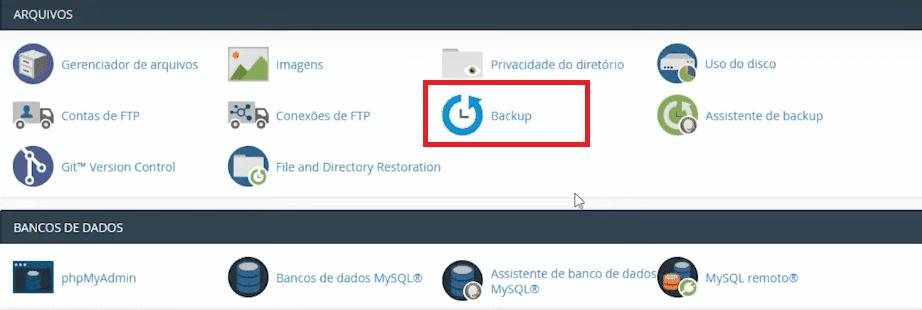 Seção responsável para como fazer backup do WordPress