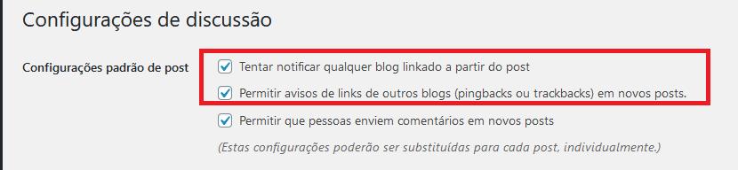 Configurações de discussão do WordPress para desativar pingbacks e trackbacks.