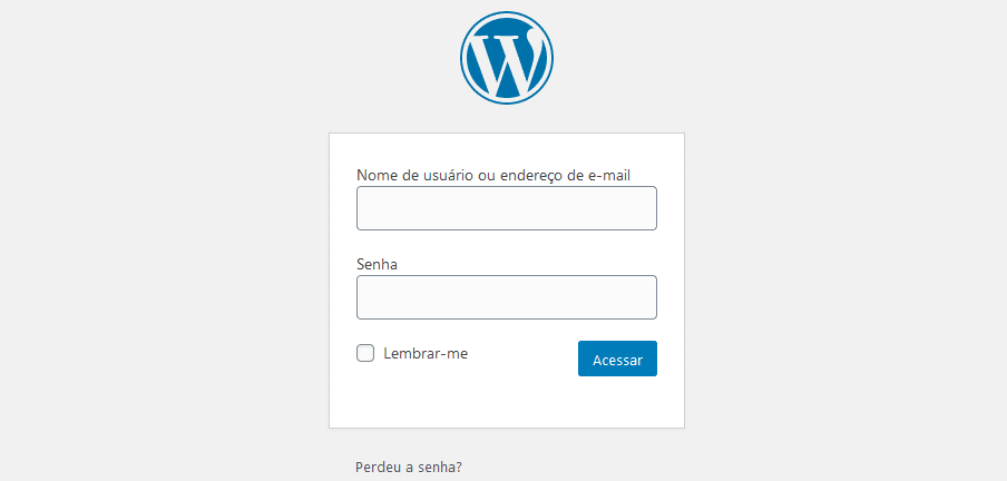 Tela inicial para entrar no WordPress
