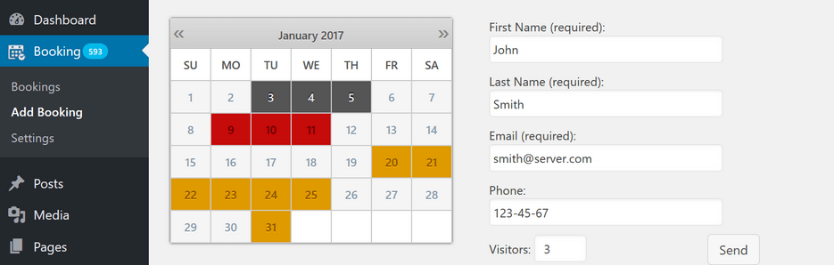 Plugins de agendamento WordPress: Booking Calendar